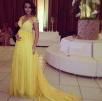 Yellow Prom Dresses,Chiffon Evening Dress,Pregnant Prom ...