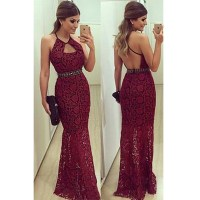 Burgundy Prom Dresses,Backless Prom Dress,Lace Prom Dress ...