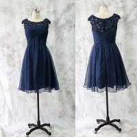 Lace Bridesmaid Dress,Short Bridesmaid Gown,Navy Blue ...