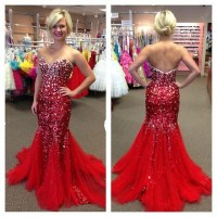 Mermaid Long Prom Dresses,Red Prom Gowns,Beading Prom ...