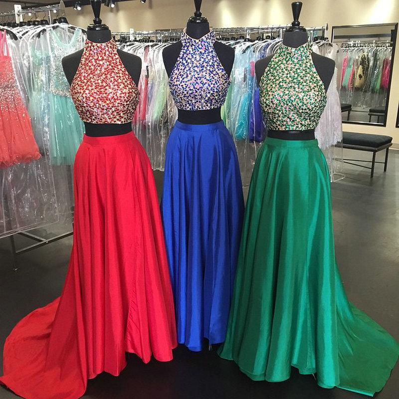 Royal Blue Prom Dresses2 Piece Prom GownTwo Piece Prom
