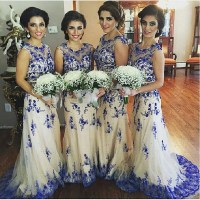 Lace Bridesmaid Dress,Long Bridesmaid Gown,Royal Blue ...