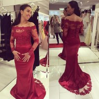 Burgundy Prom Dresses,Lace Evening Dress,Sexy Prom Dress ...