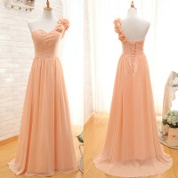 One Shoulder Bridesmaid Gown,Pretty Prom Dresses,Chiffon ...