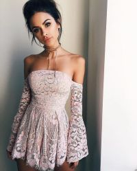 Homecoming Dress,off The Shoulder Long Sleeves Pink Prom ...