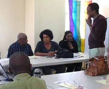 In session led by Maurice Tomlinson (right), Donovan Emmanuel talks about being gender non-conforming in Barbados. (Photo courtesy of Maurice Tomlinson)
