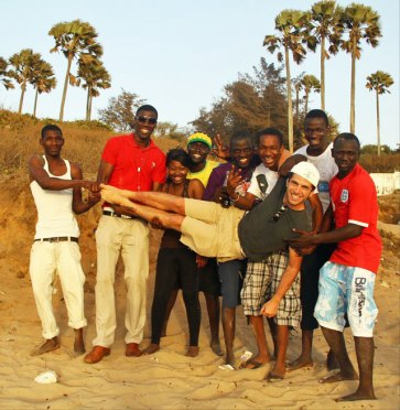 Josh Scheinert and Gambian friends at his farewell party in May 2011. (Photo courtesy of Josh Scheinert)