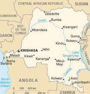 Map of the Democratic Republic of Congo shows Bukavu in the far east, near the borders Uganda, Rwanda and Burundi.