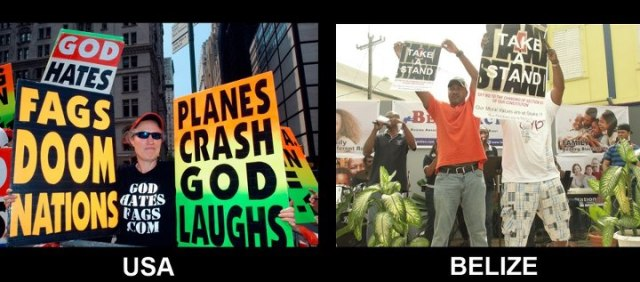 Images of protests by Westboro Baptist Church (left) and Belize Action (right) (Photos courtesy of Brent Toombs)