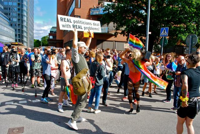 Stockholm protest against Russia's 'gay propaganda' law. (Photo courtesy of Facebook)