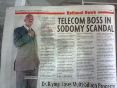 "Anti-gay Ugandan tabloid Red Pepper reported Sam Ganafa's arrest under the headline ""Telecom boss sodomy scandal."""