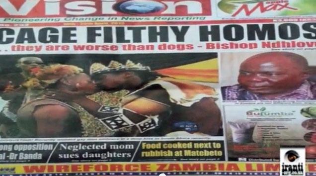Sensationalistic anti-LGBT headline in Zambian newspaper. (Photo courtesy of YouTube)