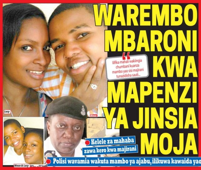 "Tanzanian newspaper coverage of the case in Swahili. The headline states, ""beautiful girls arrested for homosexuality."" The photos depict Maua Sadick, Lucy Fred and police commander Mary Nzuki."