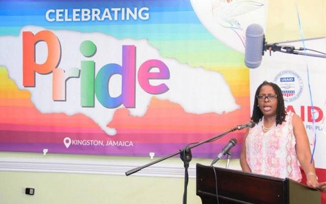 Kingston Mayor Angela Brown Burke speaks at the opening of the first Jamaica Pride, PRiDEJA 2015. (Photo courtesy LoopJamaica.com)