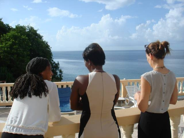 Participants take a break from planning LGBTI rights strategy to enjoy the scenery at the Flamboyant Hotel in Grenada. (Photo by Maurice Tomlinson)