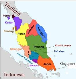 Map of western Malaysia shows the locations of Penang, Terengganu, Kuala Lumpur and Negeri Sembilan. (Map courtesy of Geocurrents.info)
