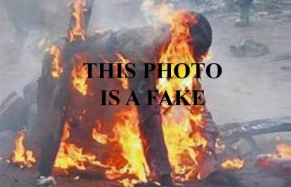 "The latest use of this photo is labeled ""Photo Not Related,"" but it's still misleading. To avoid confusion, here it's labeled ""This Photo Is A Fake."" Without that label, the photo has been presented as an illustration of  incidents that allegedly occurred in Pakistan, Kenya, South Africa, Ghana, Burundi and Nigeria."
