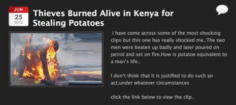 In this version of the photo, it allegedly shows a thief who stole potatoes in Kenya in 2012.