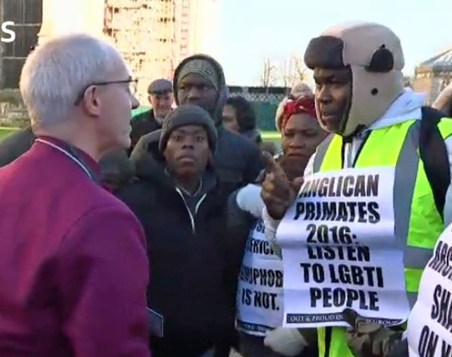 Archbishop of Canterbury Justin Welby met briefly with LGBTI protesters and also apologized for pains that the Anglican Communion has caused for LGBTI people. (Photo courtesy of ITV)