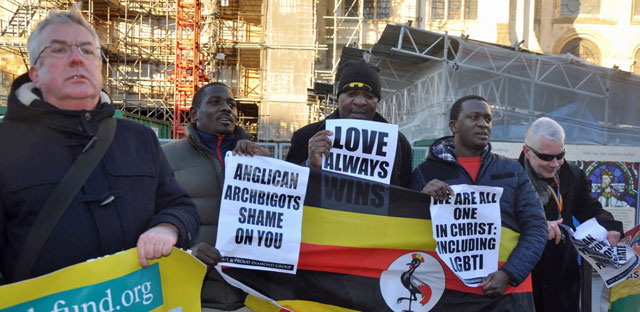 "Protesters to Anglican ""archbigots"": ""Shame on you"" (Photo courtesy of Out and Proud Diamond Group)"