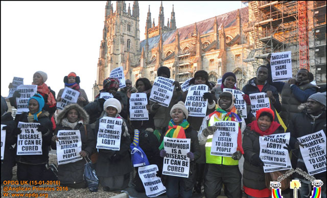 Protesters outside Canterbury Cathedral seek acceptance of LGBTI Christians. (Photo courtesy of Out and Proud Diamond Group)