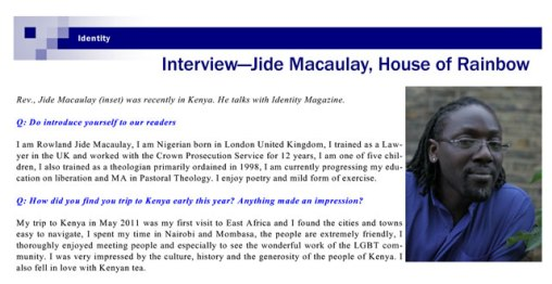 Interview with the Rev. Jide Macaulay in Identity magazine.
