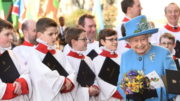 Queen Elizabeth during Commonwealth Day ceremonies at Westminster Abbey in London (Photo courtesy of the BBC)