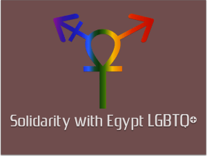 "Solidarity with Egypt LGBTQ+ explains: ""We designed this logo according to our beliefs, our identities, and the identity of our cause at Solidarity with Egypt LGBT. We used the 'Ankh' or key of life in order to express the historical meaning behind this symbol and how, in our minds, it is connected to feminism and the diversity of gender and sexual identity in Egypt."""