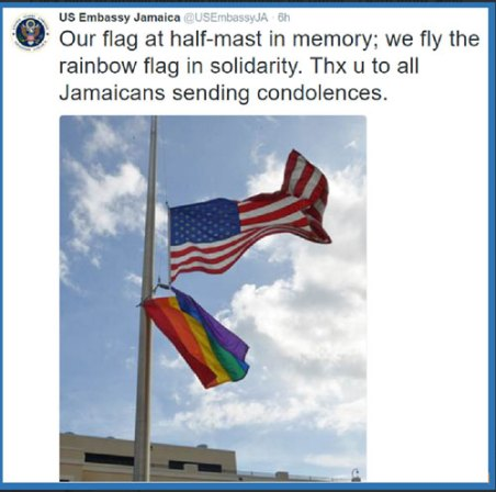 The U.S. Embassy in Jamaica flew the U.S. flag at half-staff, accompanied by a rainbow flag.
