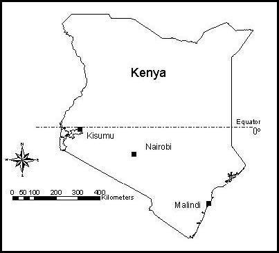 Map of Kenya shows Kisumu in the west and Malindi in the east. (Map courtesy of ResearchGate.net)