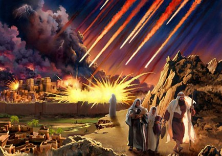 "Fundamentalists revel in the imagery of destruction in the Sodom and Gomorrah story, seeing it as a forecast of what's ahead for sinful nations. This image from the blog America's Last Days comes from the blog post ""America is now Sodom and Gomorrah and will be destroyed by fire."""