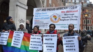 Out and Proud members protest against Church of England report. (Photo courtesy of Out and Proud)