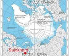 Location of Salekhard, Russia, along the Arctic Circle.