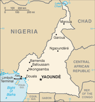 Douala is on the Atlantic coast in Cameroon. (Map courtesy of Wikipedia)