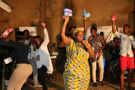 Stella Nyanzi at pads fundraiser in March 2017. (Photo courtesy of Facebook)