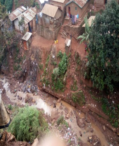 Ravine in Bukavu, Congo, where youths escaped from military police (Photo courtesy of ALCIS)