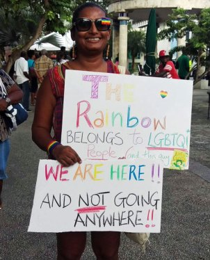 Signs from Barbados counter-protest. (Photo courtesy of Nastassia Rambarran)