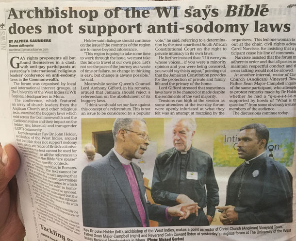 Page 1 article in the Gleaner of Oct. 13, 2017, about Archbishop John Holder's speech. (Colin Stewart's photo, John Holder's thumb)