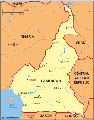 Map of Cameroon shows Ebolowa about 100 miles south of the Yaoundé, the capital. (Map courtesy of Rand McNally)