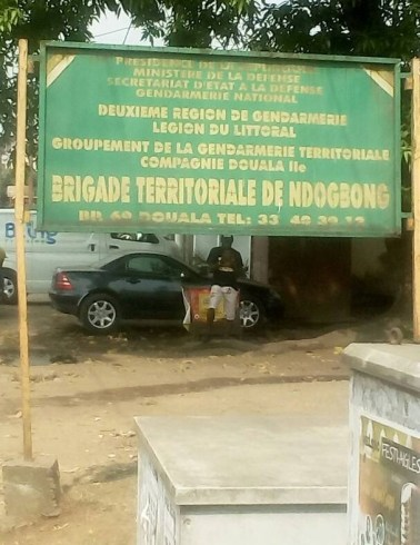 Sign for the Ndogbong gendarmerie. (Photo by Jacks Oke)
