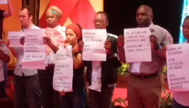 Civil society protest at ICASA 2017. (Allan Maleche photo courtesy of Meg Davis)