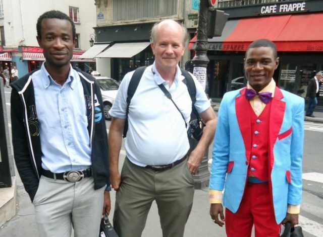 Colin Stewart (center), new president of the St. Paul's Foundation, meets in Paris in 2013 with Dominique Menoga (left) and Michel Engama (right), former executive director of Camfaids and its current president, respectively.