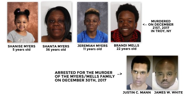 Four murder victims and two murder suspects in December 2017 slayings in Troy, New York, USA. (Photos courtesy of Autostraddle.com)