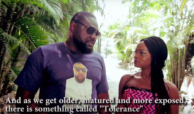 In Orisaguna's video, actor Yemi Blaq mentions tolerance during a long response to a question about people who follow other peoples' preferences. (Photo courtesy of YouTube)