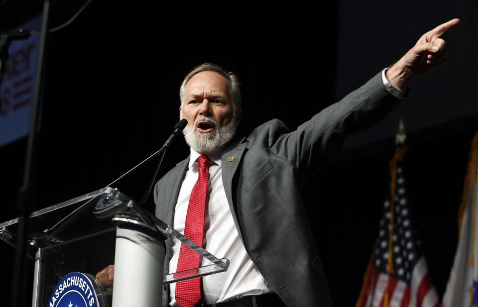 Scott Lively addresses Massachusetts Republican Convention on April 28. (Winslow Townson photo courtesy of AP via Boston Globe)