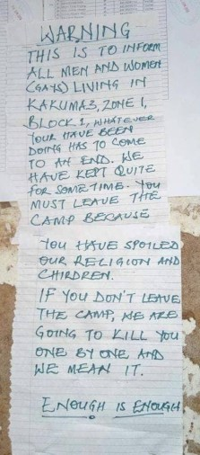 Posted warning to LGBTI refugees at Kakuma Camp in Kenya contains death threat: