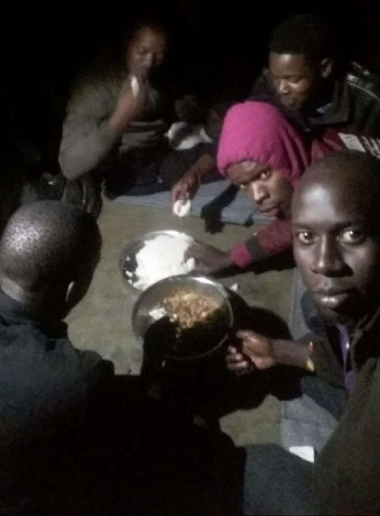 In Malawi, before their food ran out, several Ugandan LGBTI refugees from Kakuma Camp shared a meal with some Ugandan LGBTI refugees who came directly to Malawi from Uganda. (Photo courtesy of Refugee Flag Kakuma)