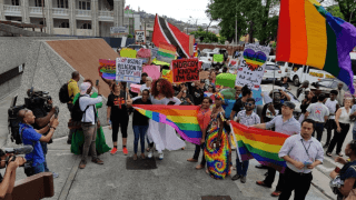 LGBTI rights advocates in Trinidad celebrate court ruling overturning that country's anti-sodomy law. (Photo courtesy of LoopTT.com)