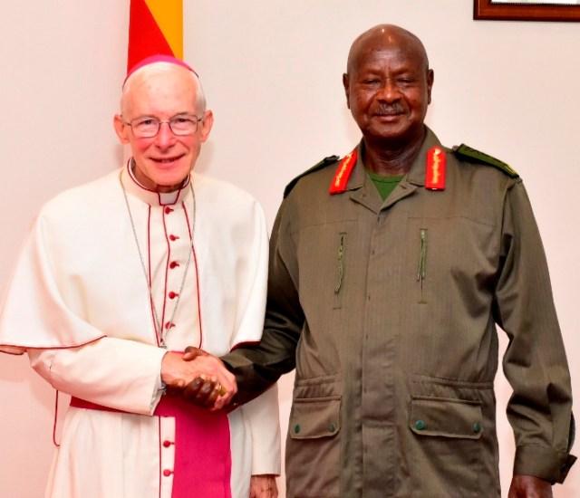 Homophobic Catholic Archbishop Michael Blume meets with Ugandan President Yoweri Museveni at State House Entebbe.