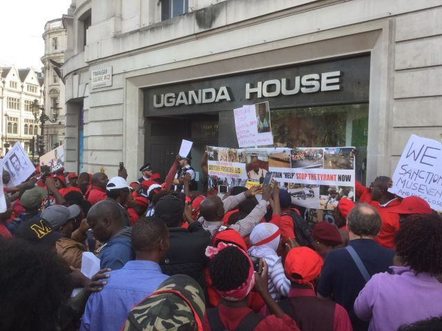 Protesters outside Uganda House in London on Aug. 23 demand an end to repression in Uganda and the release of singer and opposition politician Robert Kyagulanyi, whose stage name is Bobi Wine. (Photo courtesy of the African Equality Foundation)